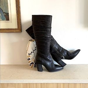 NWOT, knee high black leather dress boots